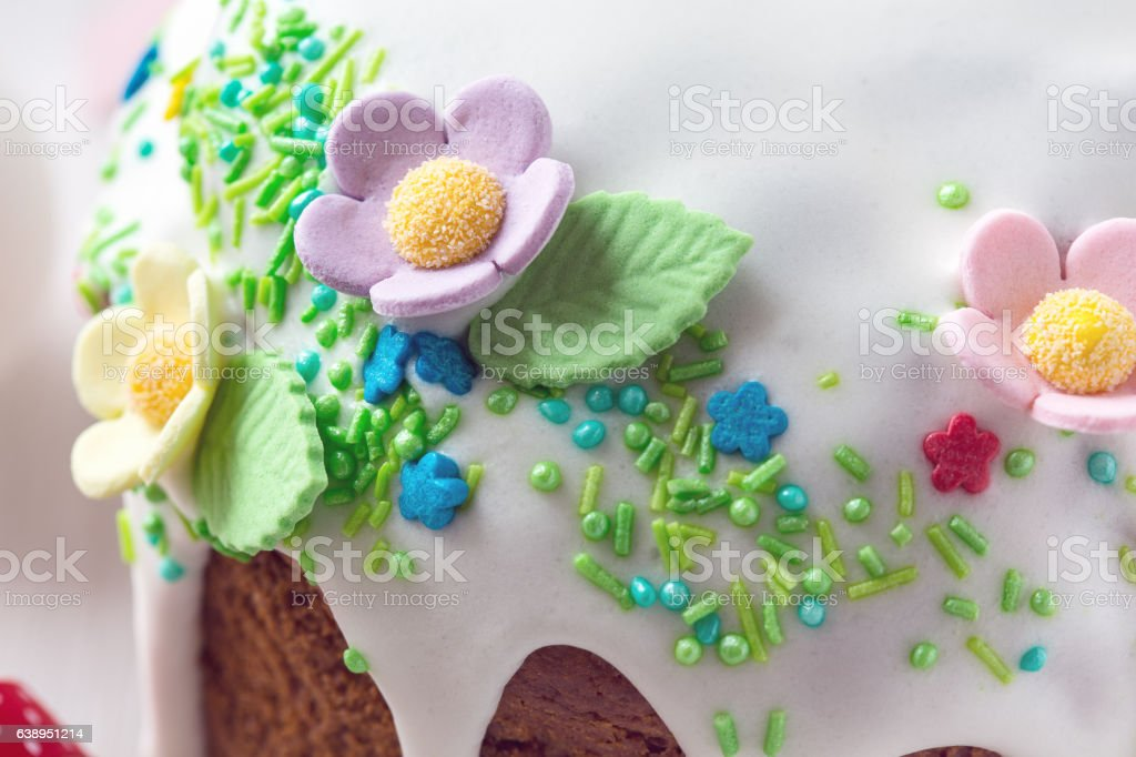 Easter cake with glace icing and decoration stock photo