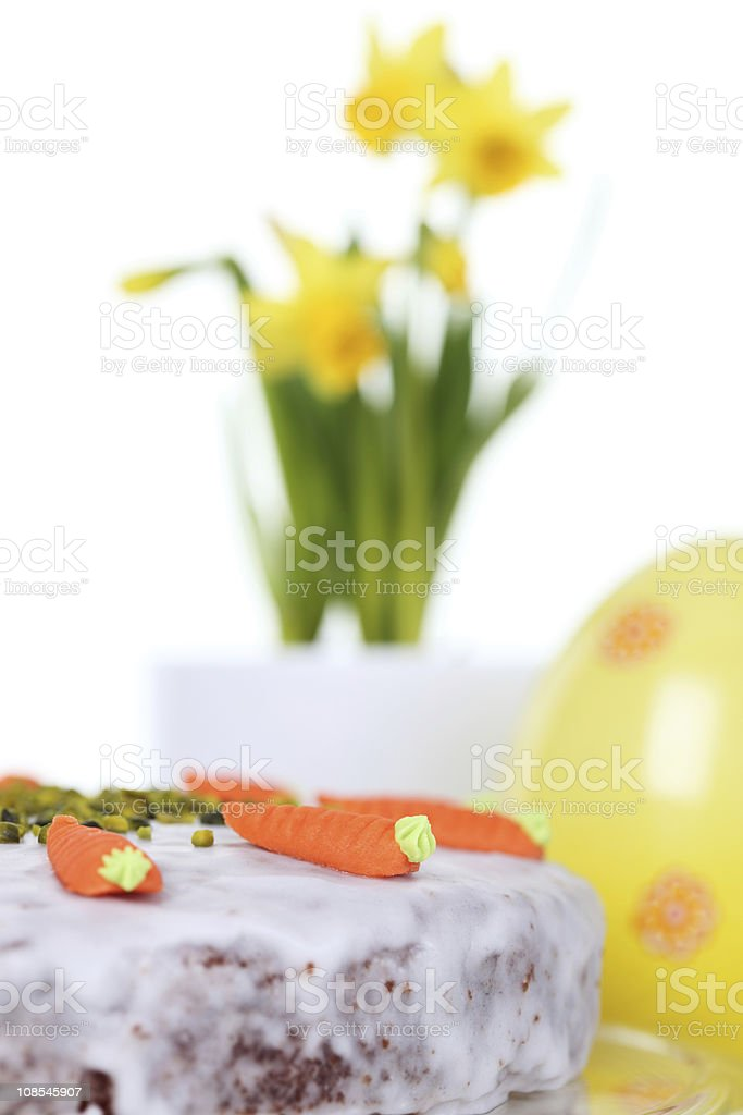 Easter Cake with Narcissus and Egg royalty-free stock photo