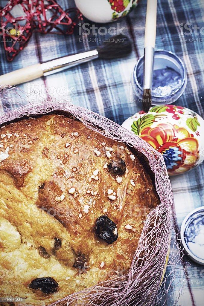 Easter cake with raisin stock photo