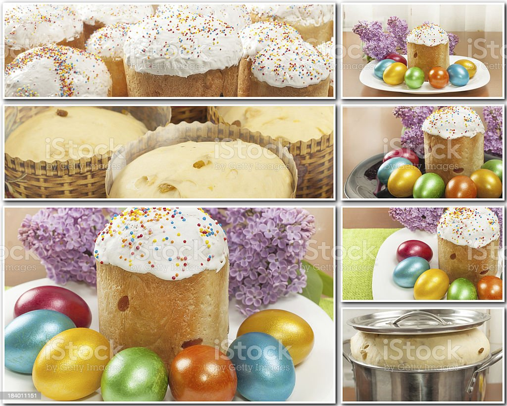 Easter cakes and painted eggs collage royalty-free stock photo