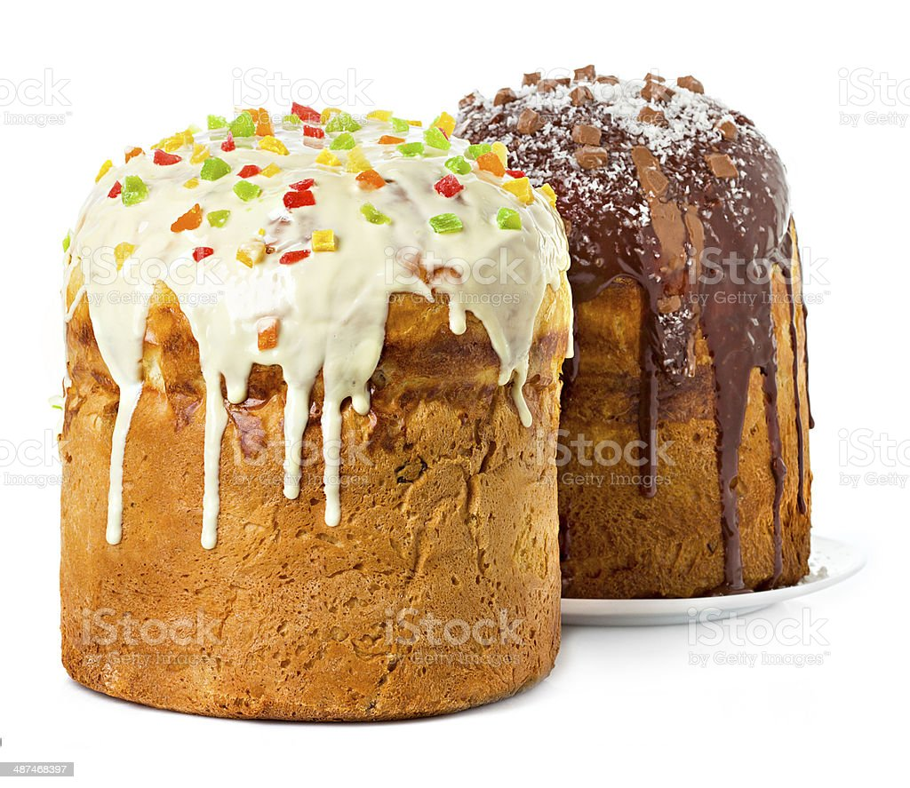Easter cakes isolated stock photo