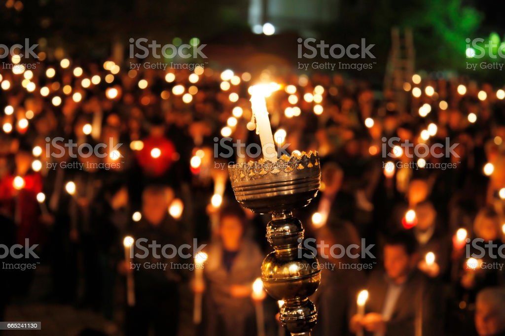 easter candle vigil stock photo
