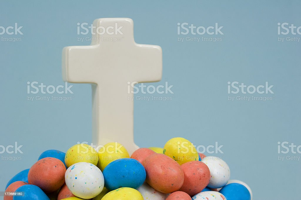 Easter Candy and Cross stock photo