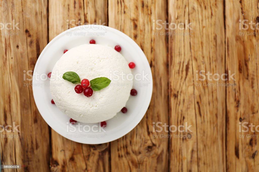 Easter cheese dessert, top view stock photo