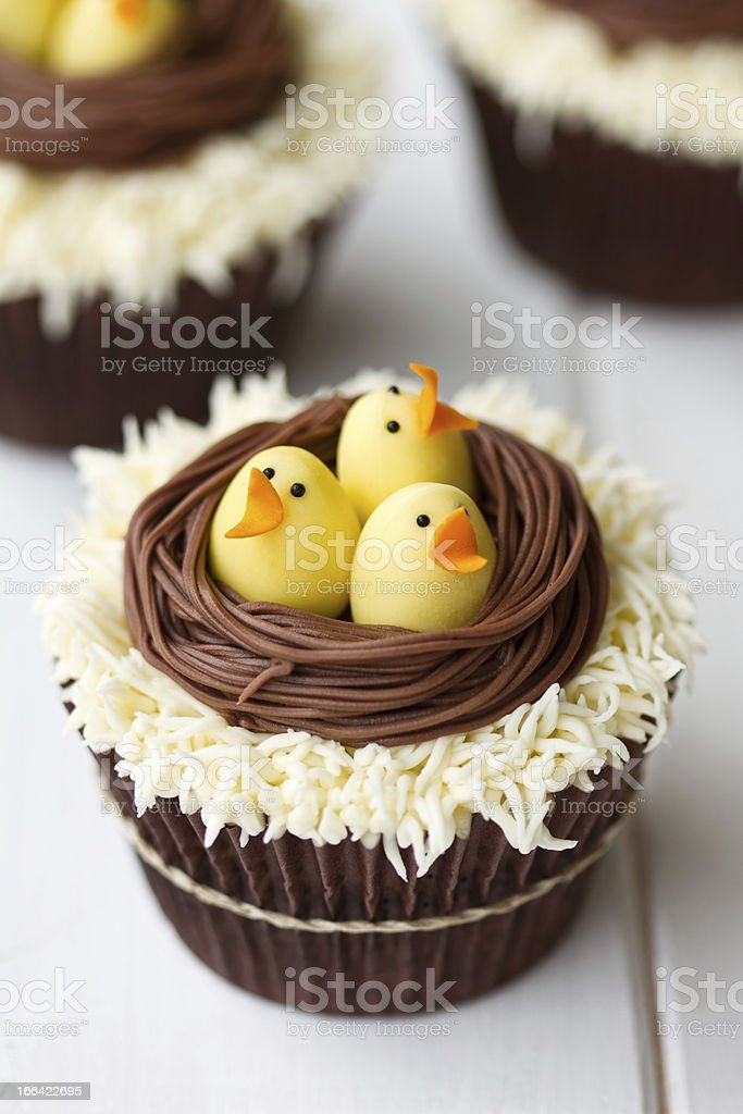 Easter chick cupcakes royalty-free stock photo