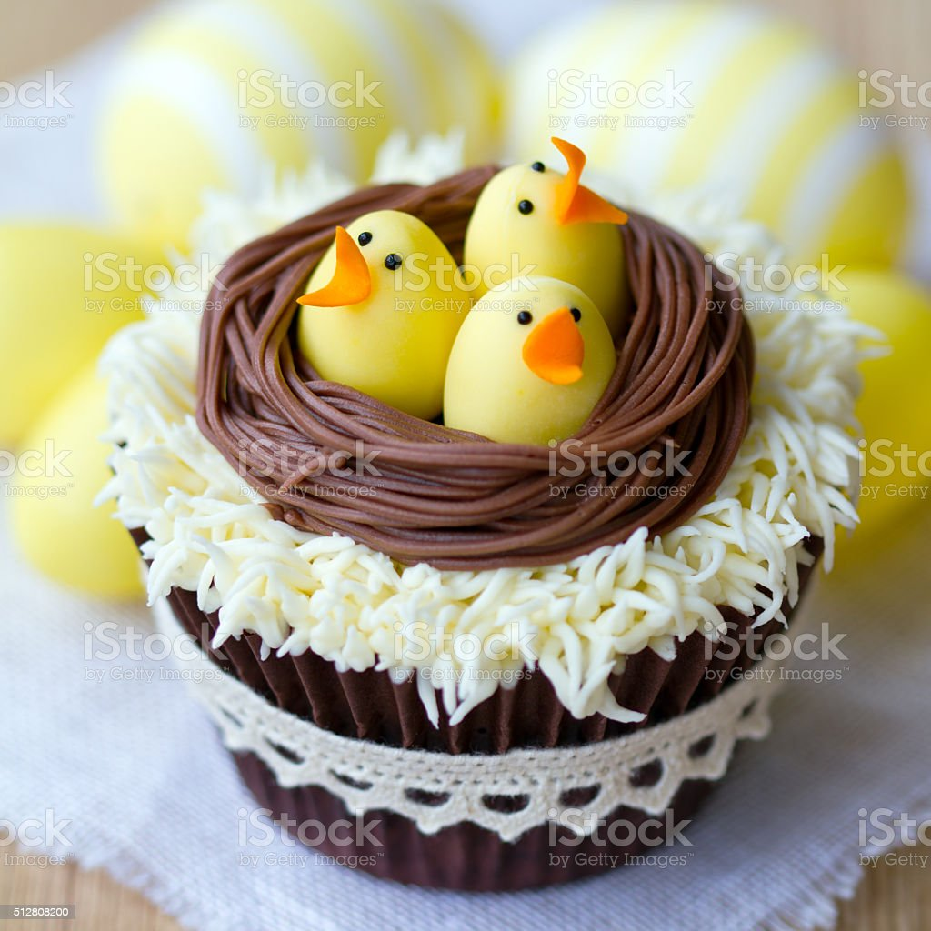 Easter chick cupcakes stock photo