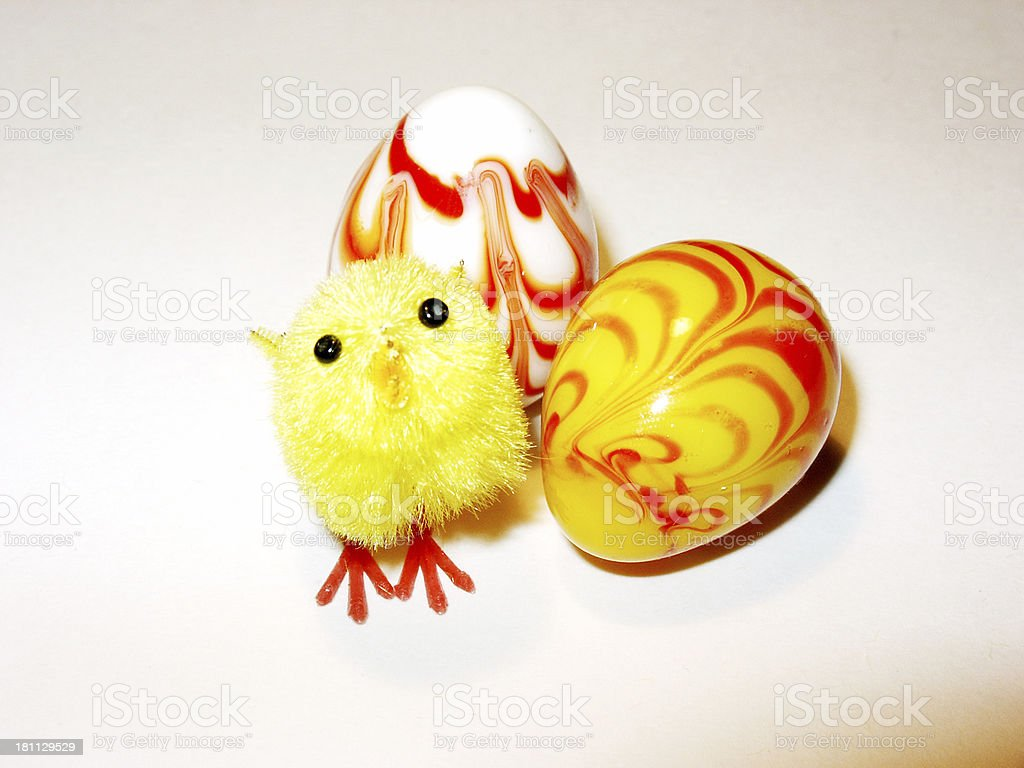 Easter - chicken and 2 eggs stock photo