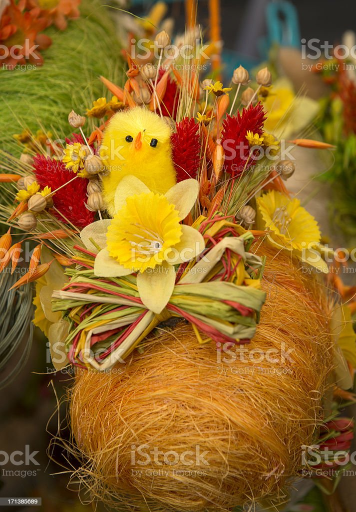 Easter Chicken on Dry Flowers Egg royalty-free stock photo