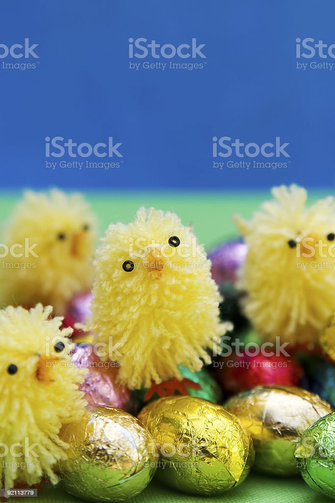 Easter: chicks and eggs royalty-free stock photo