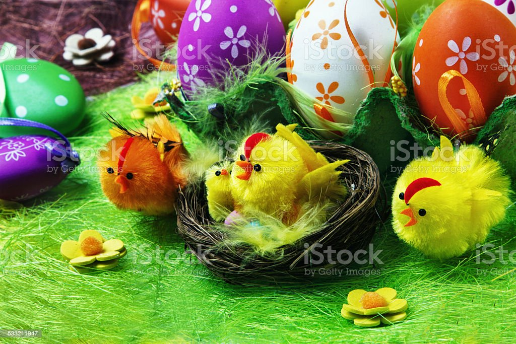 Easter chicks  eggs and decoration stock photo