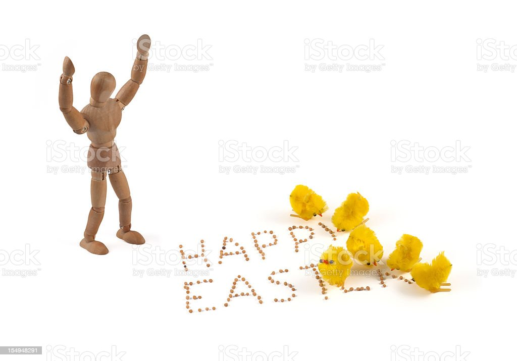 """Easter chicks picking the word """"happy easter"""" stock photo"""