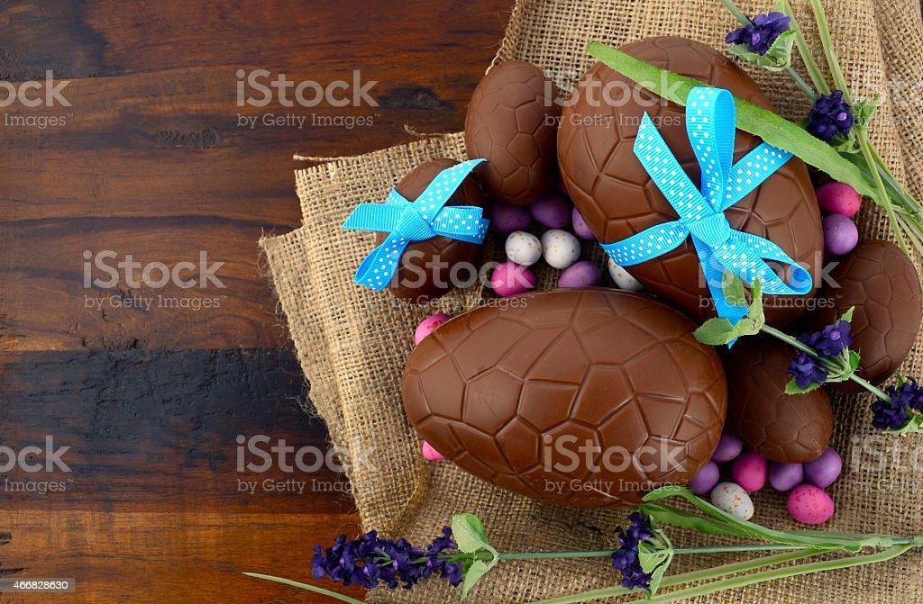 Easter chocolate Easter eggs on dark wood stock photo