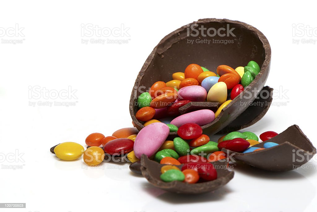 easter chocolate egg and sweets  on a light background royalty-free stock photo