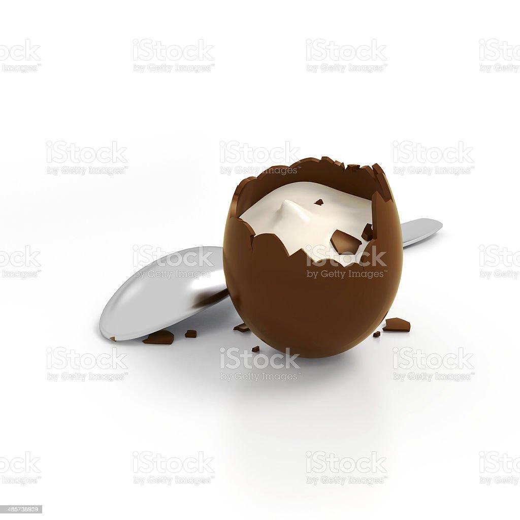 Easter chocolate egg cream fill stock photo