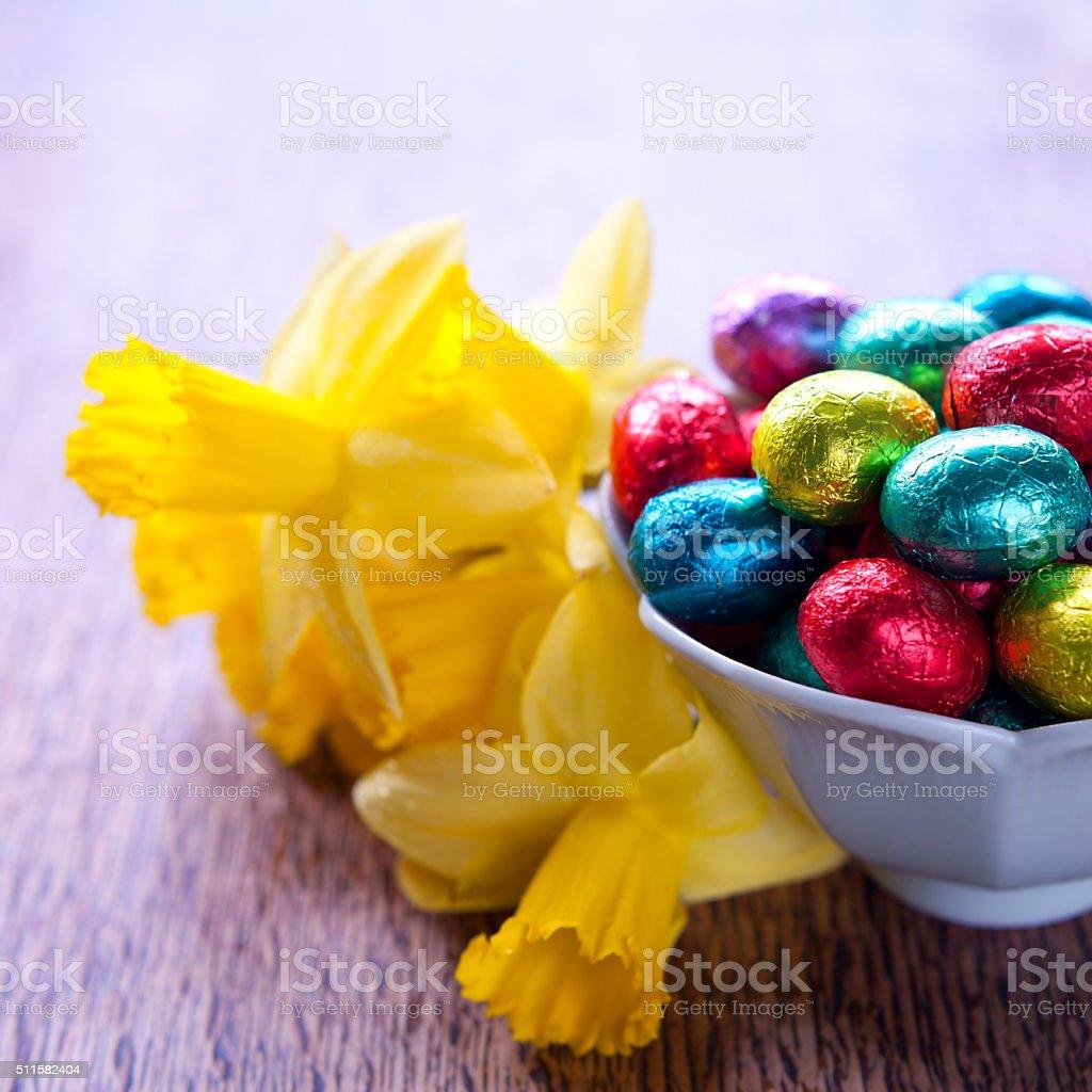 Easter chocolate eggs stock photo