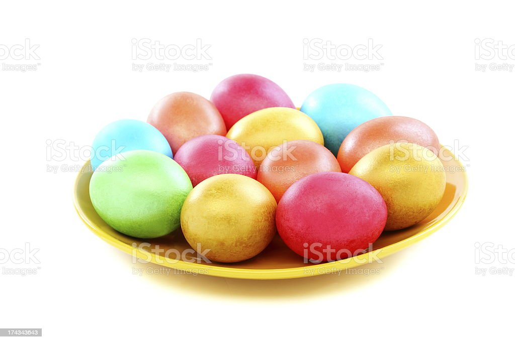 Easter colored eggs on a plate. royalty-free stock photo