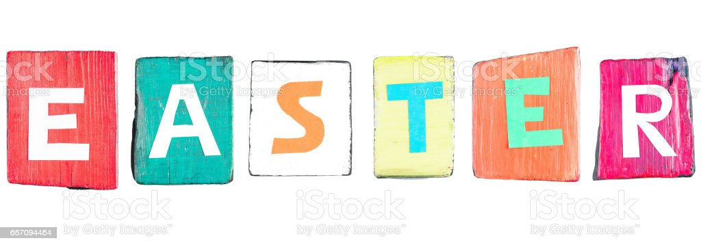 Easter colorful text stock photo