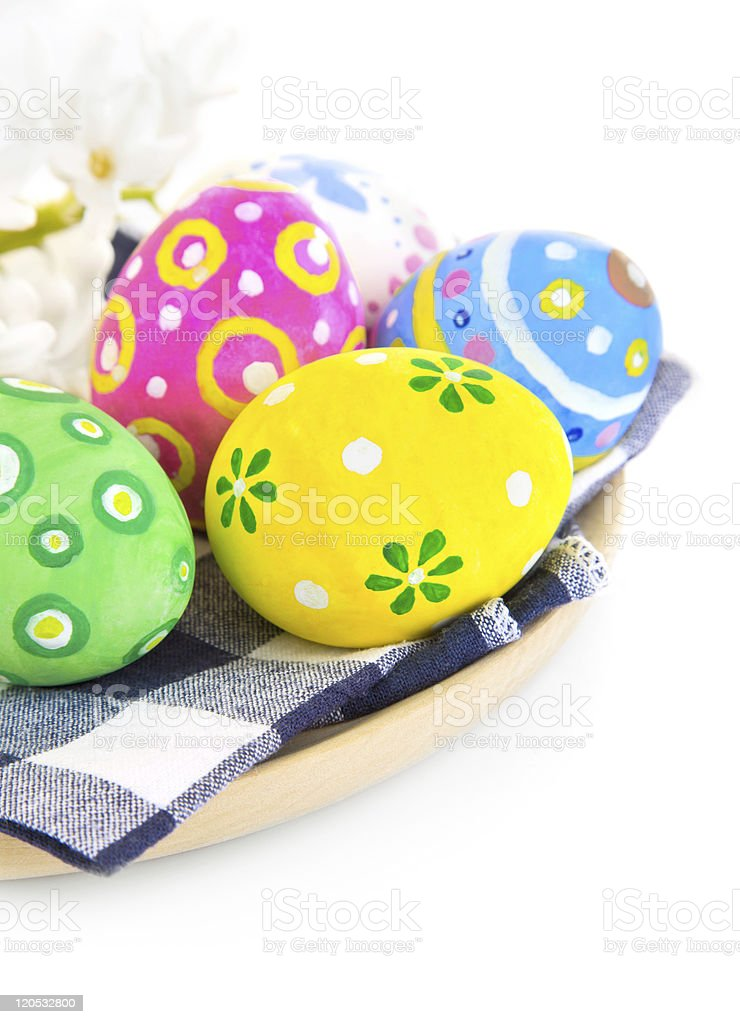 easter coloured eggs in plate royalty-free stock photo