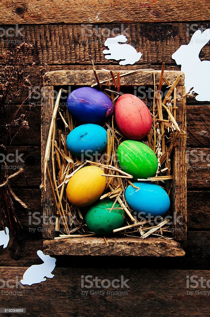 Easter Composition with chicken Eggs on the Warm Wooden Background stock photo