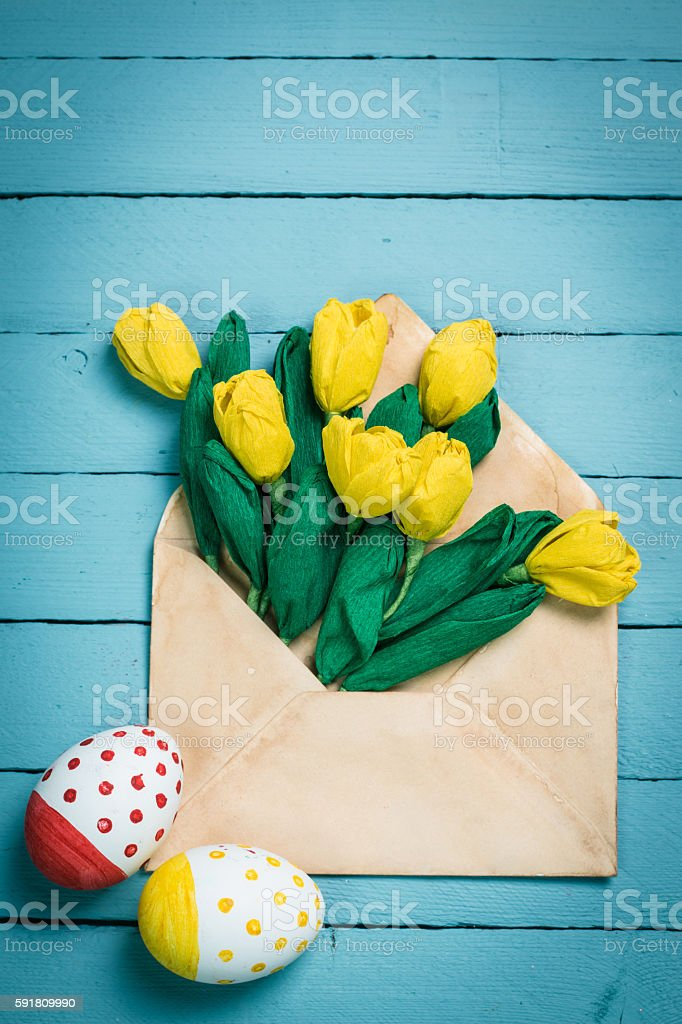 Easter concept with colorful eggs on wooden background stock photo