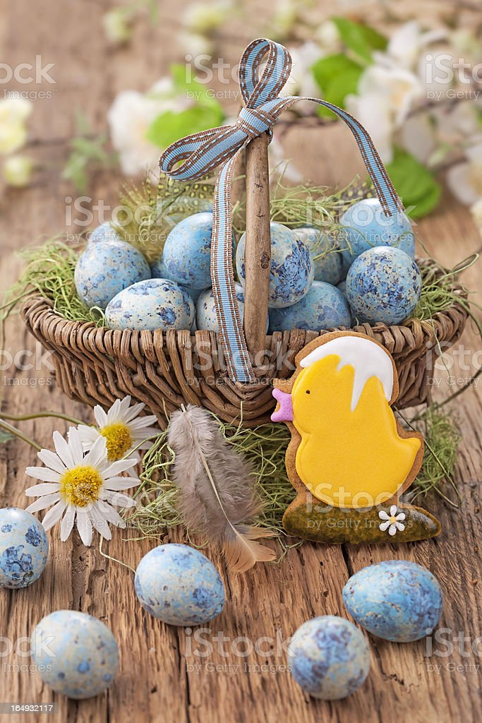 Easter cookie and blue eggs royalty-free stock photo