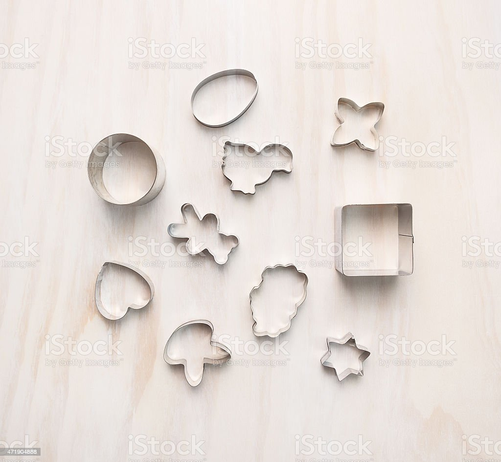 easter cookie cutter  composing on  white wooden,background, top view stock photo
