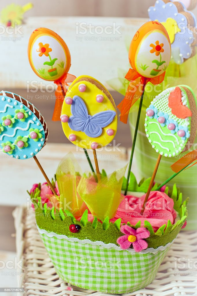 Easter cookies stock photo
