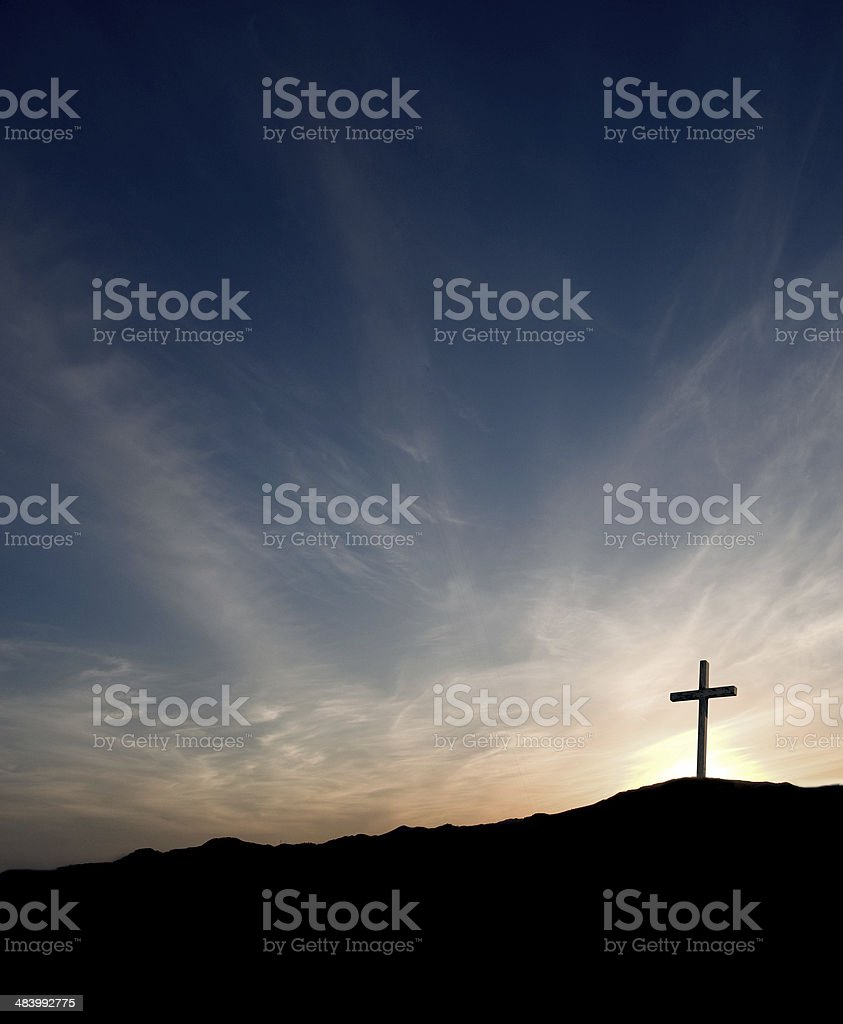 Easter Cross at Sunrise- solitary with Christ gone royalty-free stock photo