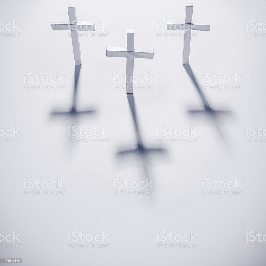Easter Crosses and Shadows on White royalty-free stock photo