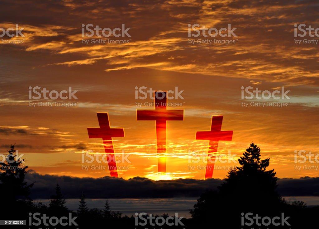 Easter Crosses in Sky stock photo