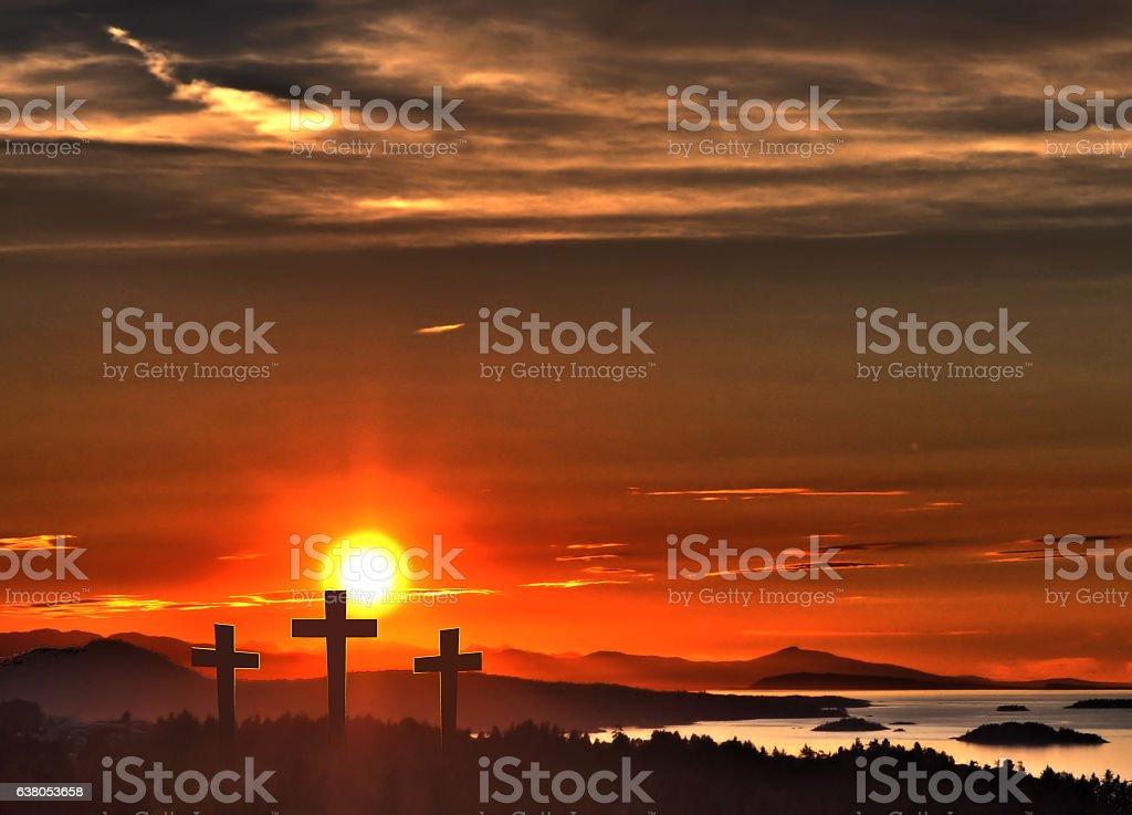 Easter Crosses over Ocean Sunset stock photo