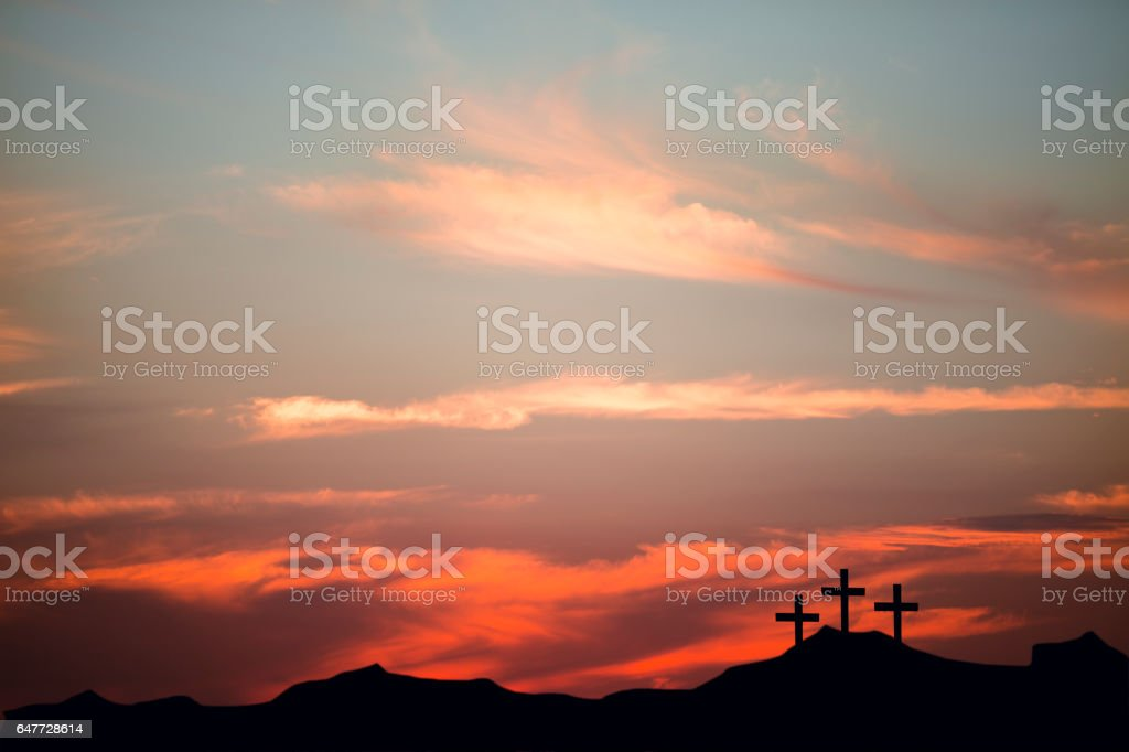 Easter, Crucifixion scene with three cross on a hill. stock photo