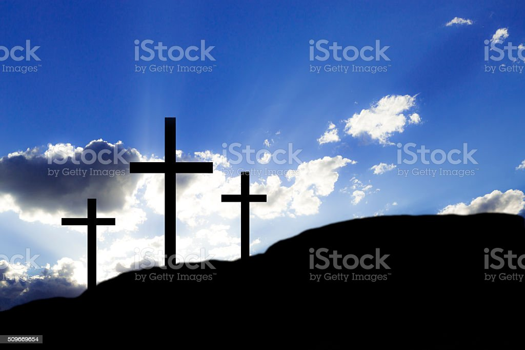 Easter. Crucifixion.  Three crosses on a hill.  Christianity. stock photo