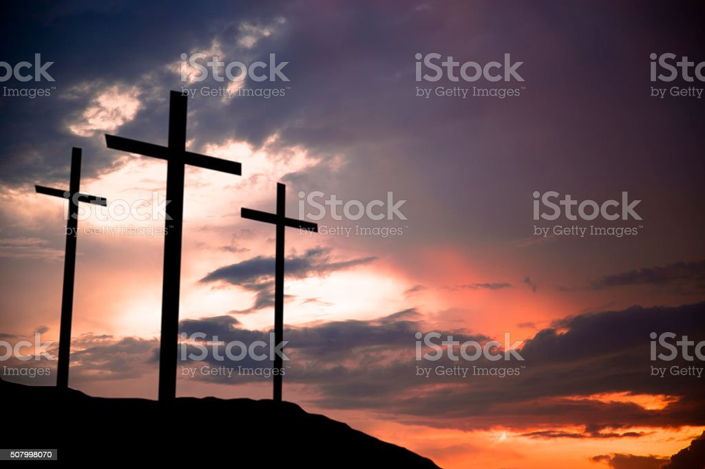 Easter. Crucifixion.  Three crosses on a hill. Good Friday.  Christianity. stock photo