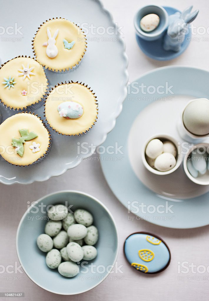 Easter cupcakes and candies stock photo