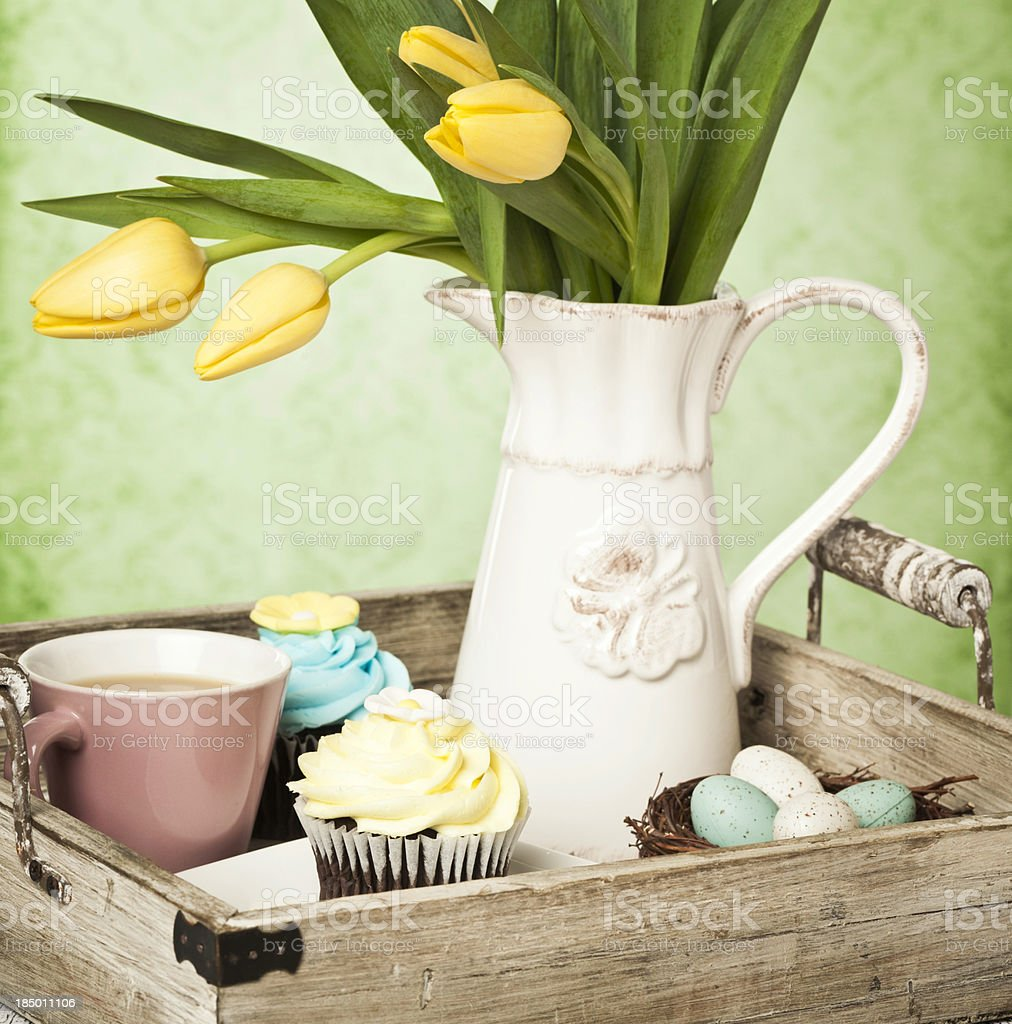 Easter Cupcakes and Tea stock photo