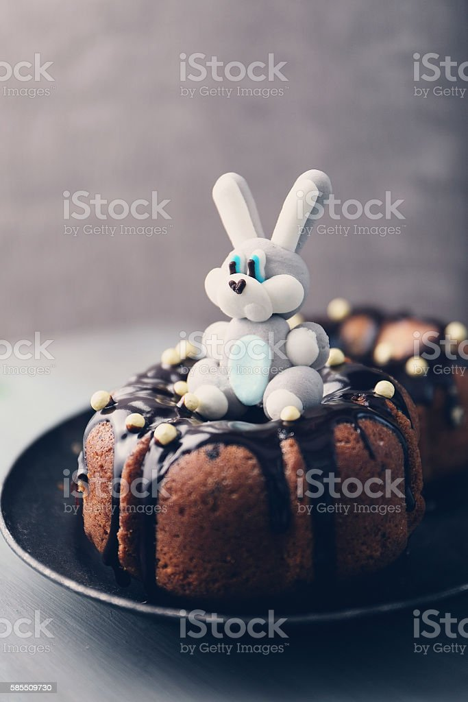 Easter cupcakes with a hare stock photo