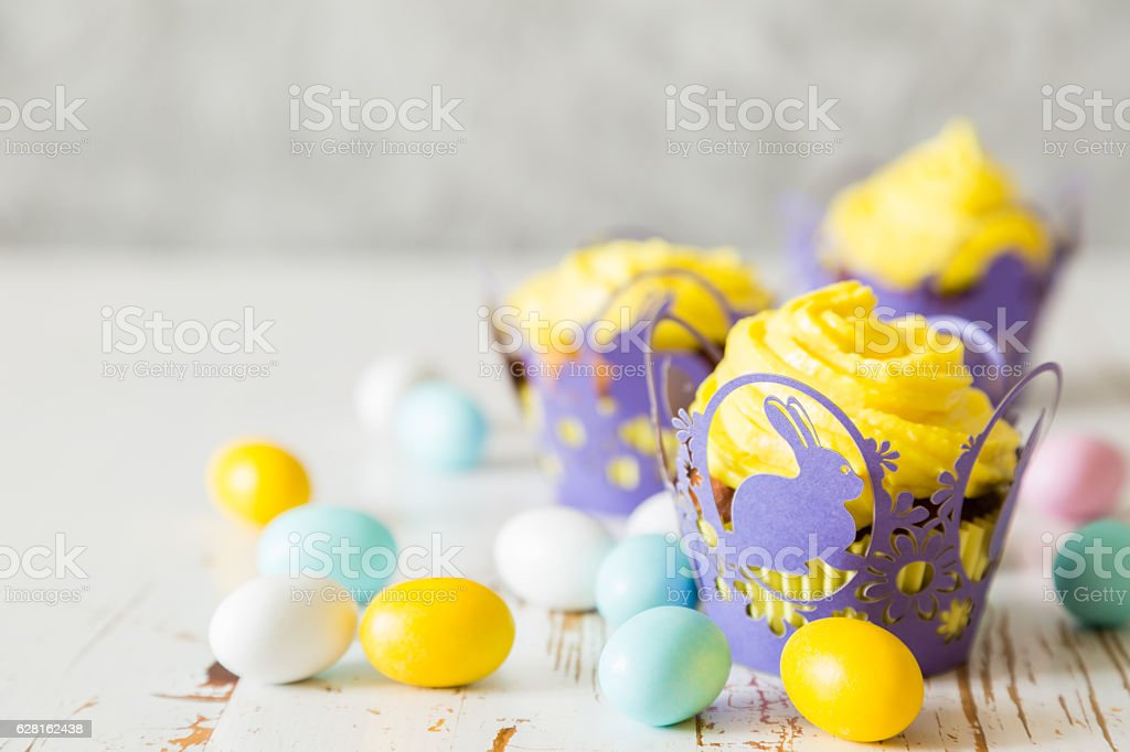 Easter cupcakes with eggs and flaffy willow stock photo