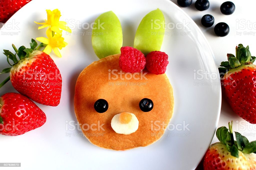Easter day bunny pancake breakfast stock photo