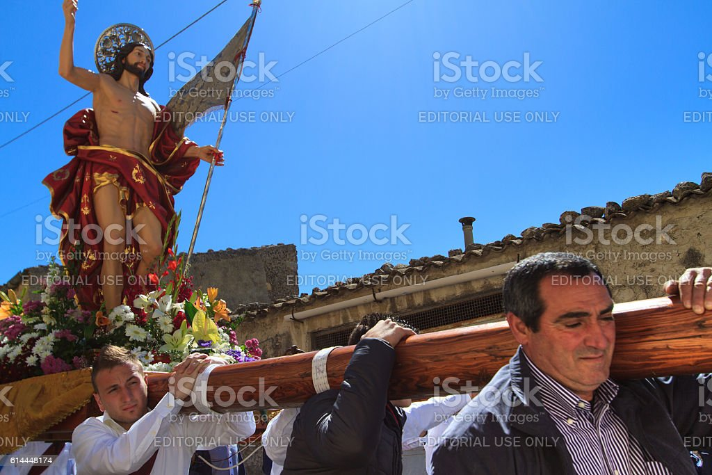 Easter Day Procession, Sicily: Men Carrying Statue of Jesus stock photo