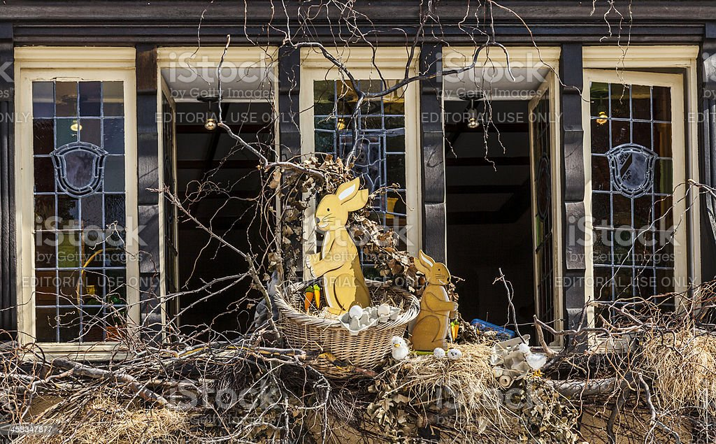 Easter Decorated Window in Colmar royalty-free stock photo