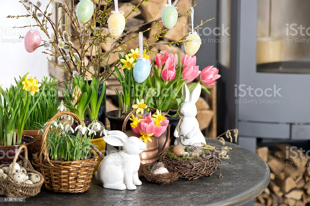 Easter decoration flowers eggs. Tulips, snowdrops, narcissus stock photo