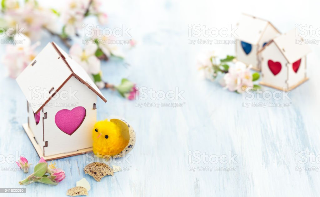 Easter decoration with apple blossom. stock photo