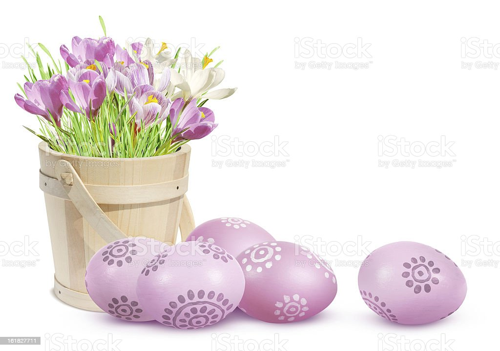 Easter decoration with eggs and pink crocuses royalty-free stock photo