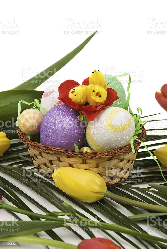 Easter decoration with eggs,chicken and tulips royalty-free stock photo