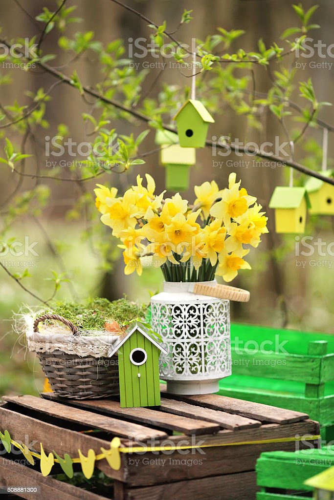 Easter decoration with spring flowers stock photo