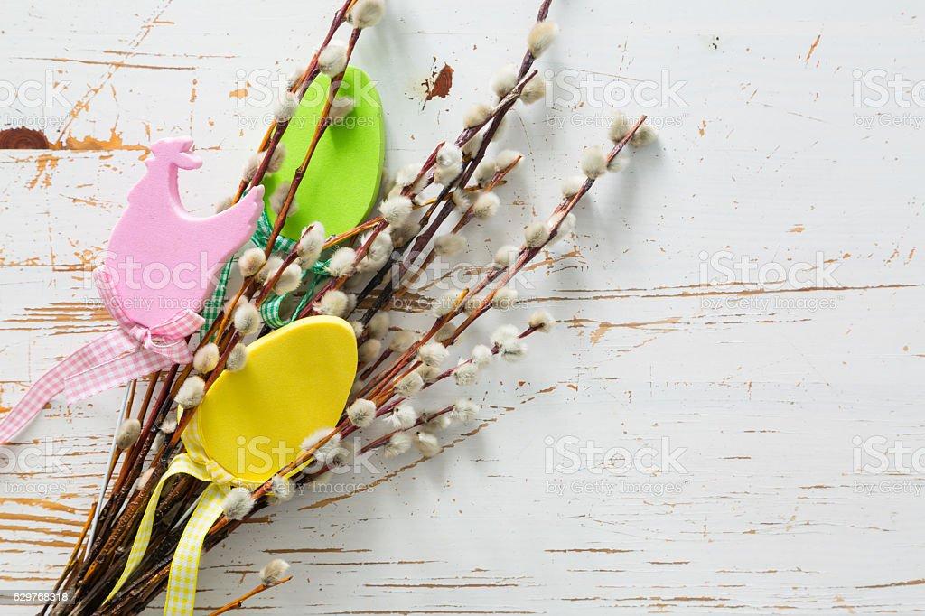 Easter decorations on pussy willow stock photo