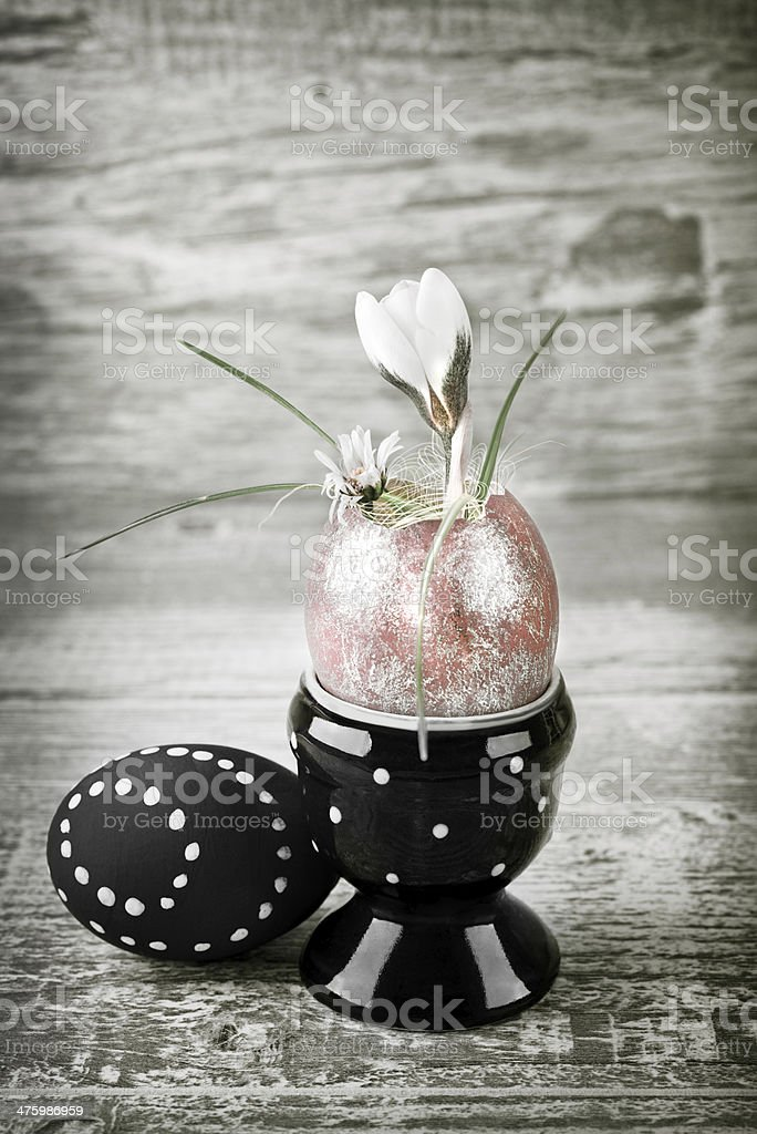 Easter decorations on wooden background, tinted image stock photo