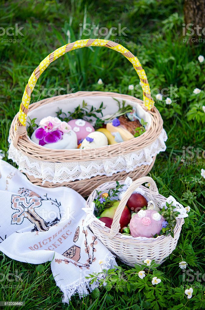 Easter. Easter basket with food stock photo