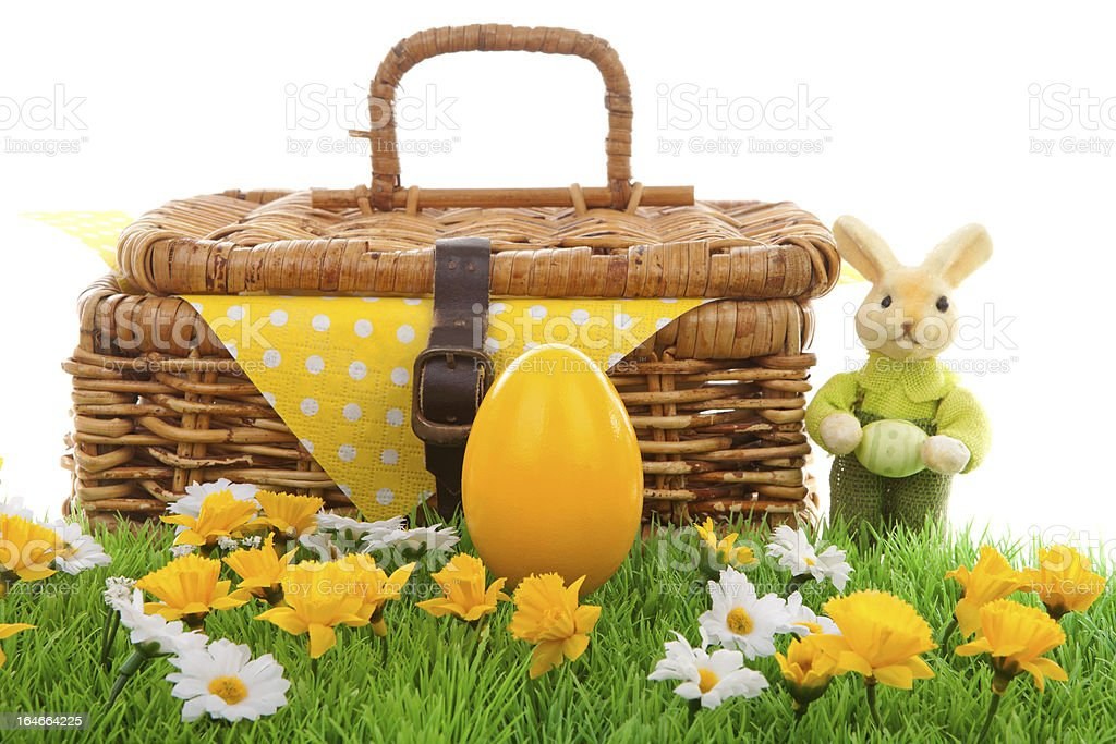 Easter egg and basket stock photo